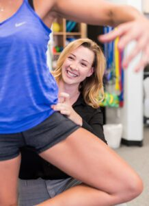 Physical therapist Hilary working with a dancer